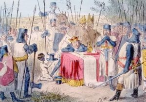 King John sealing Magna Carta at Runnymede